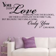 You Don't Love Someone for their Looks ~ Wall sticker / decals